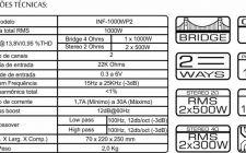 Especificações tecnicas 1000W 2ch